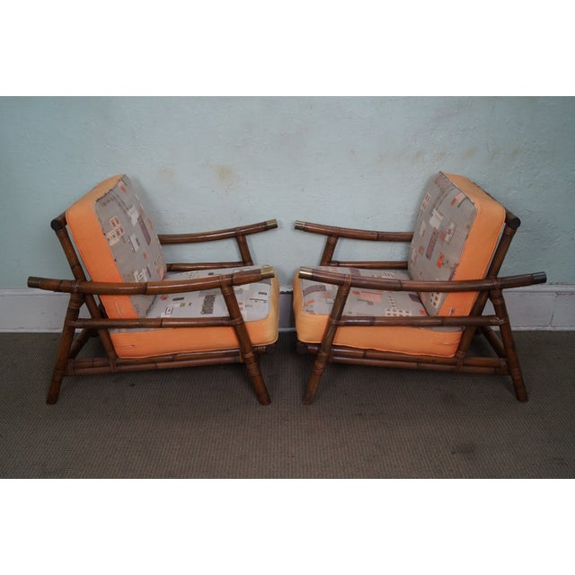 Mid-Century Modern John Wisner for Ficks Reed Far Horizons Rattan Lounge Chairs & Ottoman - Set of 3 For Sale - Image 3 of 10