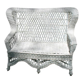 19th Century Vintage Wicker Settee For Sale