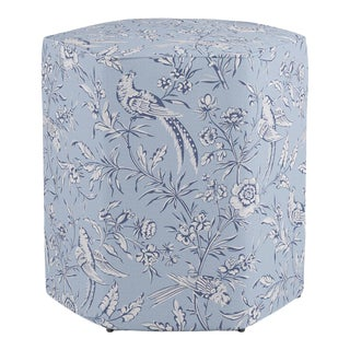 Hexagonal Ottoman in Blue Aviary By Scalamandre For Sale