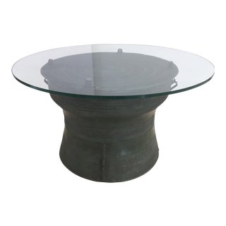 Asian Cast Bronze Rain Drum with Glass Top Coffee Table For Sale