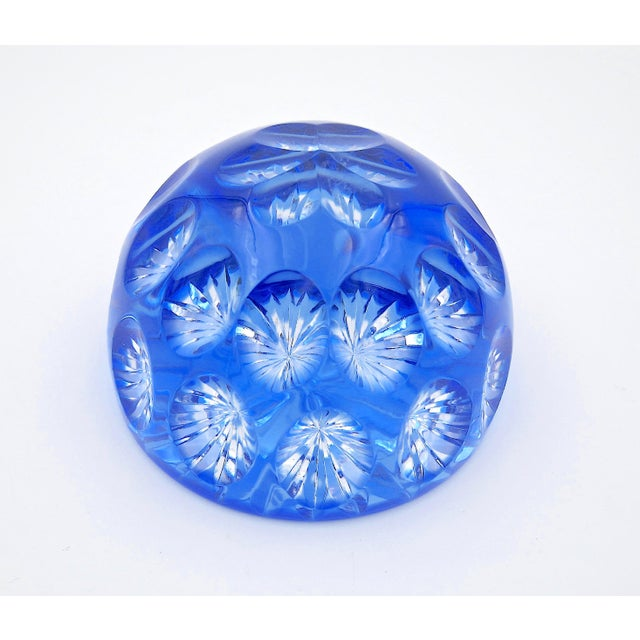 Webb and Corbett Vintage Blue Crystal Paperweight by Webb Corbett of England For Sale - Image 4 of 12
