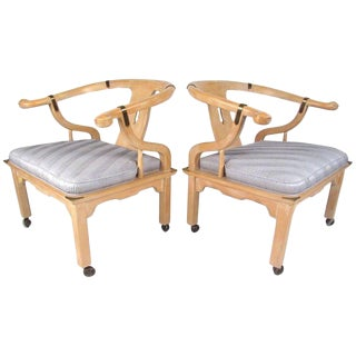 Set of Midcentury Chinoiserie Style Lounge Chairs by Century Chair Company For Sale