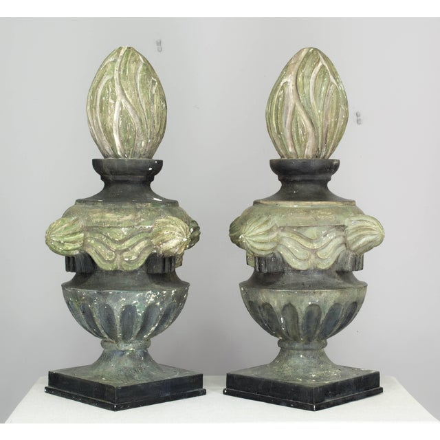 Gray Pair of French Zinc Architectural Finials For Sale - Image 8 of 11