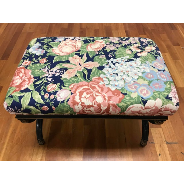 Mid 20th Century Vintage Hollywood Regency X Form Stool Bench Karges For Sale - Image 5 of 6
