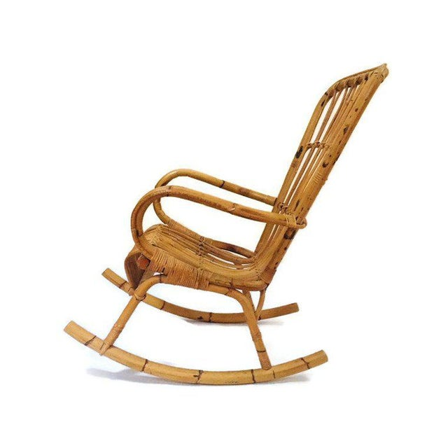 Boho Chic Mid Century Sculpted Bamboo Rocking Chair High Back Franco Albini Style Rocker For Sale - Image 3 of 11