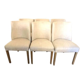 1940s Style French Barrelback Fabric Side Chairs - Set of 6 For Sale