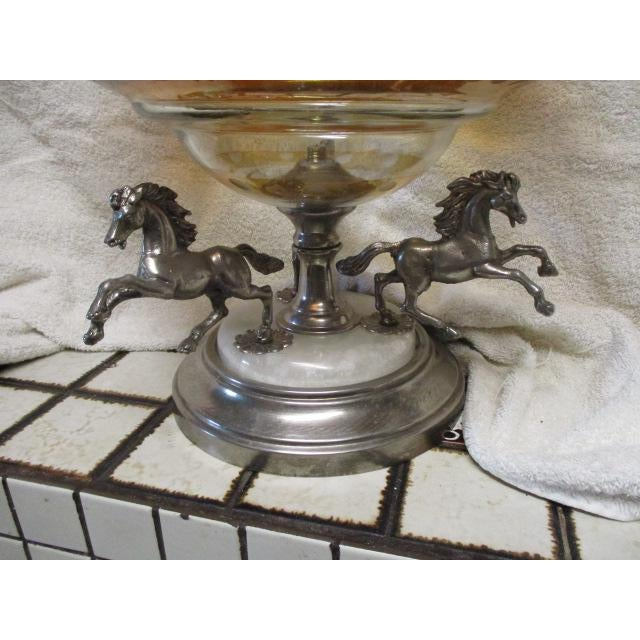 1920s Antique Horses on a Bohemian Metal Mounted Glass Epergne For Sale - Image 5 of 8