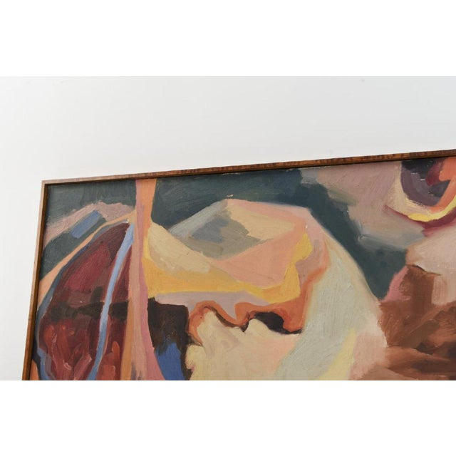Large Mid-Century Abstract Oil Painting on Canvas For Sale - Image 9 of 10