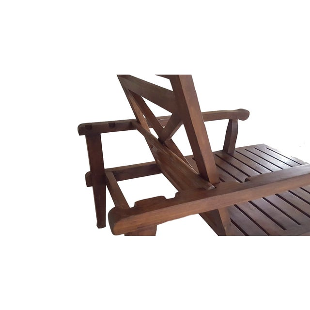 Teak Wood Reclining Luxury Lounger With Ottoman For Sale In Chicago - Image 6 of 6