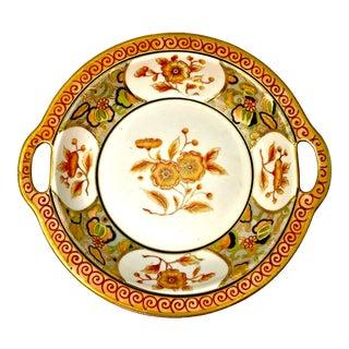 Antique Imari Style Orange Flowered Nippon Handled Bowl