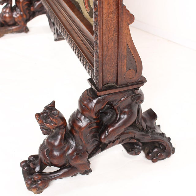 19th C. Carved Walnut Fireplace Screen With Tapestry For Sale - Image 9 of 13