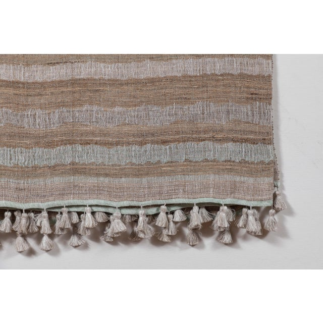 Indian Handwoven Bedcover Ocean Stripe For Sale - Image 4 of 5