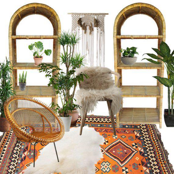 Vintage Rattan Etagere PAIR, Matching Rattan Bookshelves / Bookcases, Domed Rattan Shelving Set. Fantastic Bookcases for...