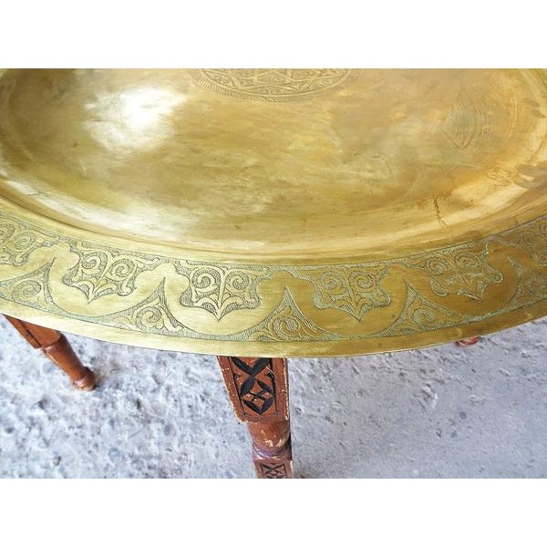1960s Moroccan Brass Tray Oval Coffee Tea Table - Image 2 of 11