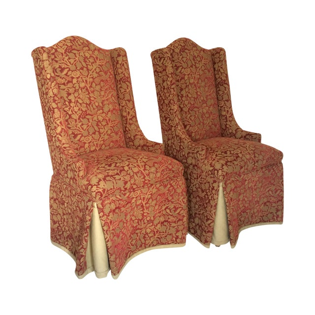 Red & Gold Brocade Dining Chairs - A Pair - Image 1 of 8