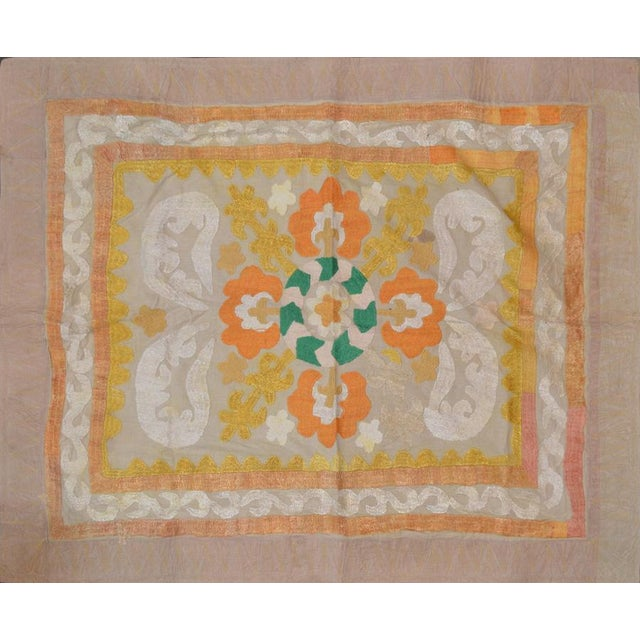 Uzbeki Ivory & Yellow Cotton Suzani Textile - 2'9″x3'3″ For Sale - Image 4 of 4