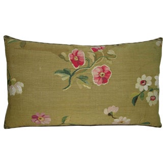 1860 Antique French Aubusson Pillow - 23'' X 14'' For Sale