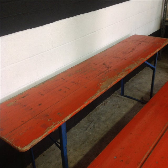 Orange German Beer Garden Table & Benches For Sale - Image 4 of 8
