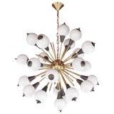 Contemporary Italian Antique Bronze and White Murano 24 Light Sputnik Chandelier For Sale