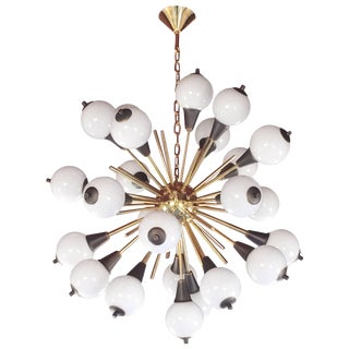 Contemporary Italian Antique Bronze and White Murano 24 Light Sputnik Chandelier For Sale