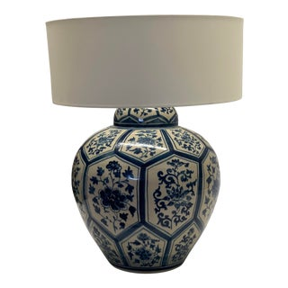 Ceramic Balinese Blue and White Lamp For Sale
