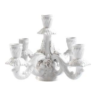 """Mid-Century Italian White Porcelain """"Blanc De Chine"""" Candelabrum Centerpiece For Sale"""