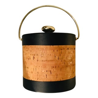 Mid-Century Modern Cork and Brown Faux Leather Ice Bucket With Brass Handle For Sale