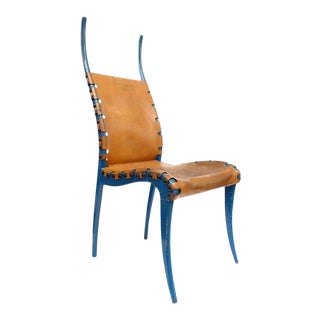 "Italian Leather and Blue-Lacquered Wood ""Horn"" Chair For Sale"