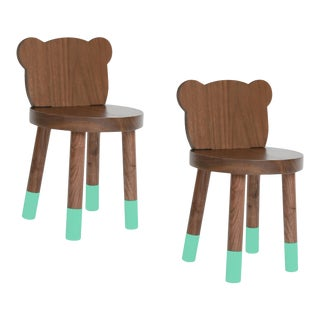 Nico & Yeye Baba Kids Chair Solid Walnut Mint - Set of 2 For Sale