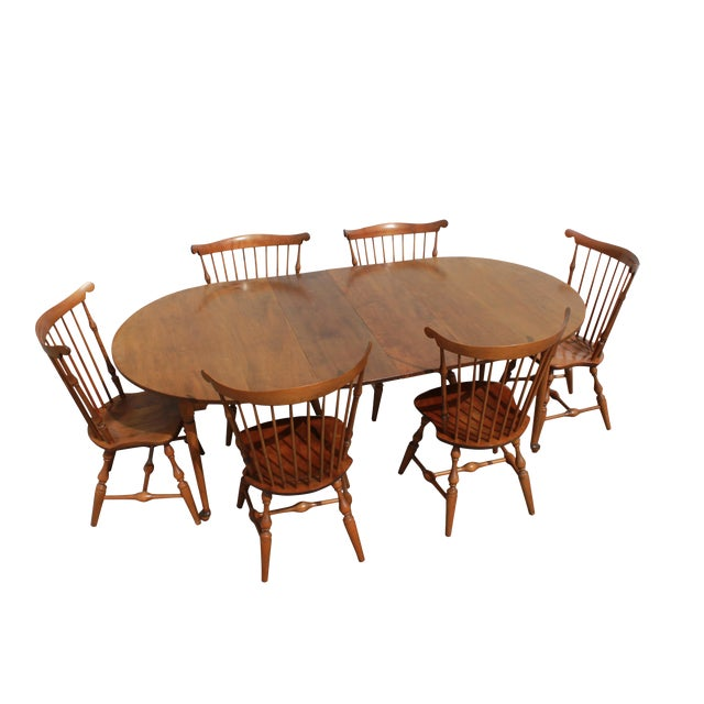 Nichols & Stone Dining Table & Windsor Style Chairs - Set of 7 ...