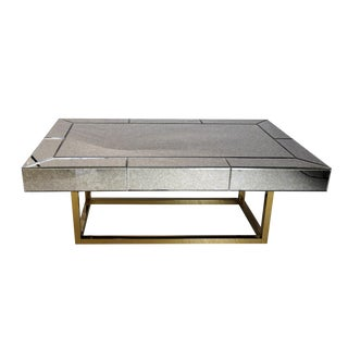 Vintage Antiqued Mirror Coffee Table For Sale