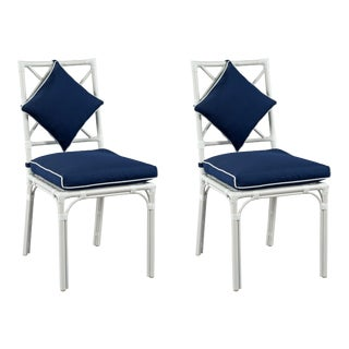 Haven Outdoor Dining Chair, Canvas Navy with Canvas White Welt, Pair For Sale