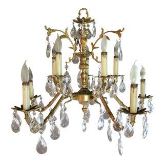 Vintage Hollywood Regency Spanish Brass/Bronze Crystal Chandelier For Sale