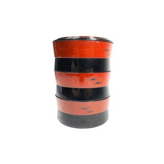 Vintage Mid Century Stacking Red and Black Lacquerware Bento Lunch Box For Sale