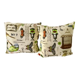 B & B Designs Bird and Butterfly French Motif Down Pillows - a Pair For Sale