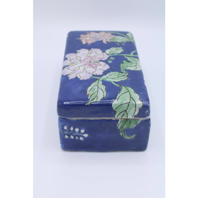 Antique Asian Ceramic Floral Peonies Jewelry Box For Sale In Tulsa - Image 6 of 13