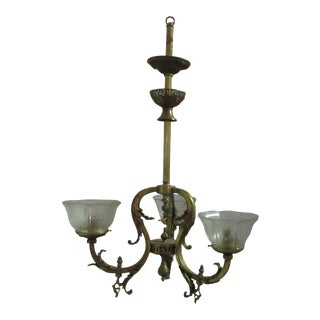 Antique Victorian Brass Electric 3 Lights Gas Chandelier For Sale