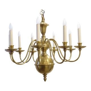 Vintage Flemish Brass Nine Arm Chandelier For Sale