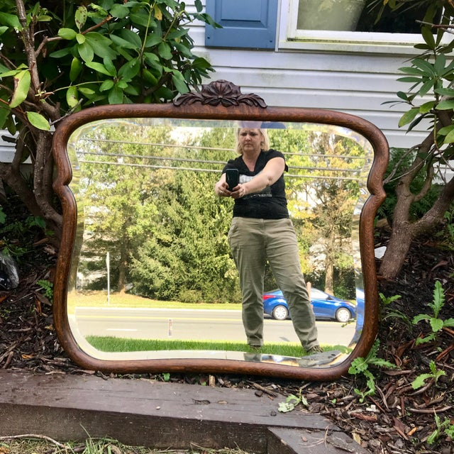 "This antique wood framed, beveled mirror is an absolute dream. At 40"" W by 36"", the size of this beautifully crafted and..."