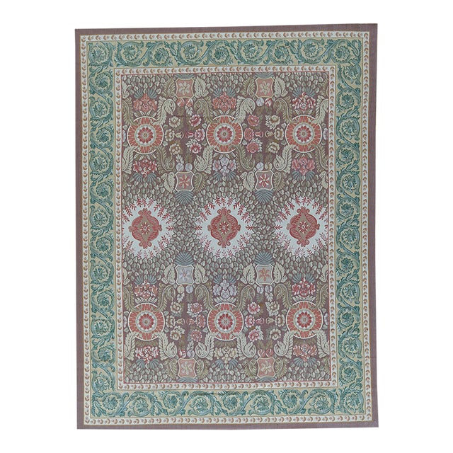 """Pasargad Aubusson Hand Woven Wool Rug - 11' 0"""" X 15'11"""" For Sale"""
