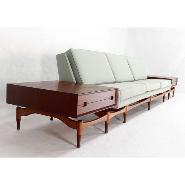 Turquoise Danish Mid Century Modern Sofa With Built in Teak End Side Tables For Sale - Image 8 of 10