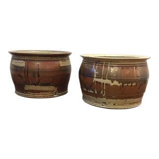 Eric Norstad Hand Thrown Garden Pots - A Pair