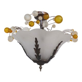 Italian Style Glass Fruit Flush Mount Chandelier