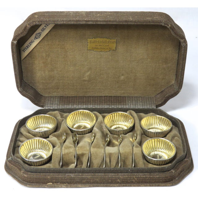 A Very Pretty Little Set of Vintage American Sterling Silver Open Salt Cellars. Circa 1930s. Set consists of 6 Salt...