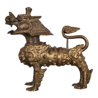 Pair of Se Asian Brass Temple Dogs C.1950 For Sale