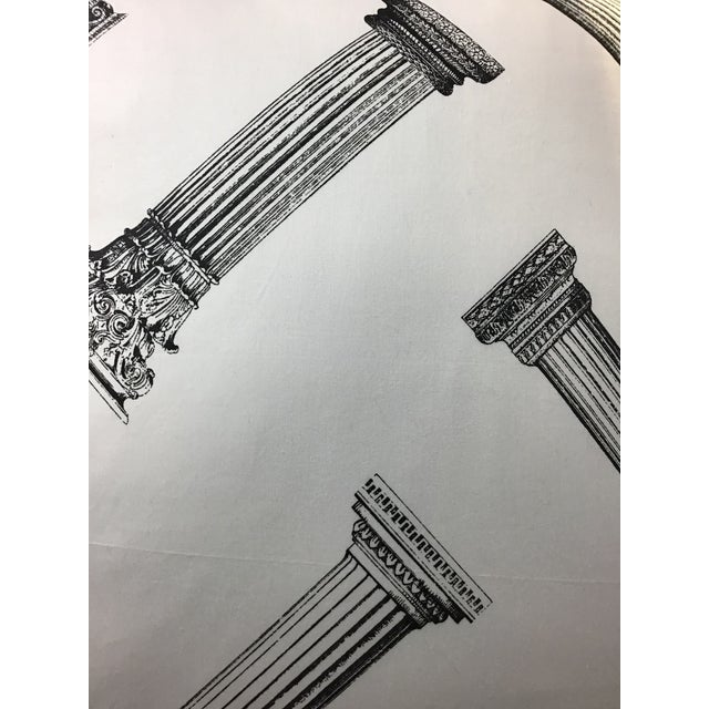 Cotton Printed Column Pattern Pillows With Black Canvas Backs - A Pair For Sale - Image 4 of 6