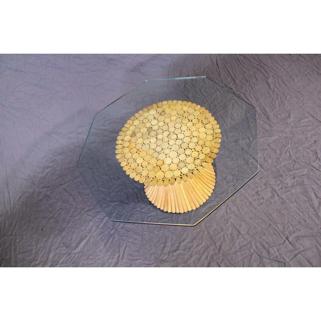 McGuire Glass Top Wheat Coffee Table - Image 7 of 10