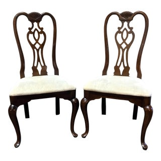 Thomasville Cherry Queen Anne Style Dining Side Chairs - Pair 1