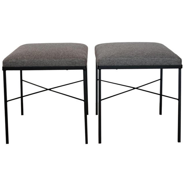 Black Pair of Iron X-Base Ottomans, 1950s For Sale - Image 8 of 8