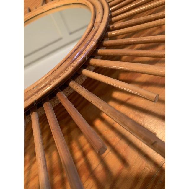 Vintage Rattan Sunburst Mirror For Sale In Charlotte - Image 6 of 7